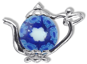 Teapot  with Blue Millefiori Bead.
